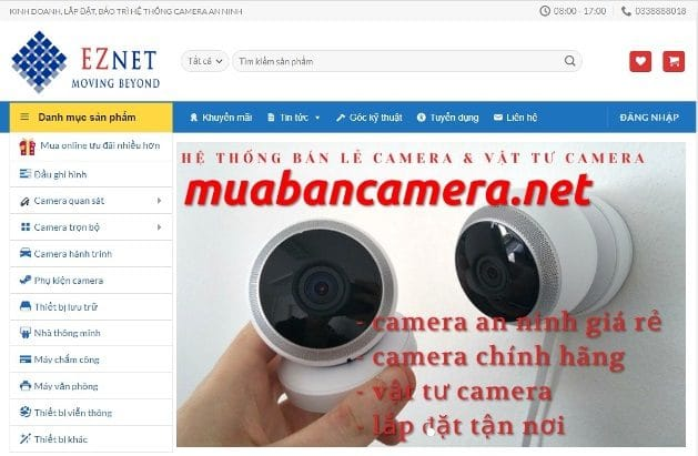 Mẫu website mua bán camera