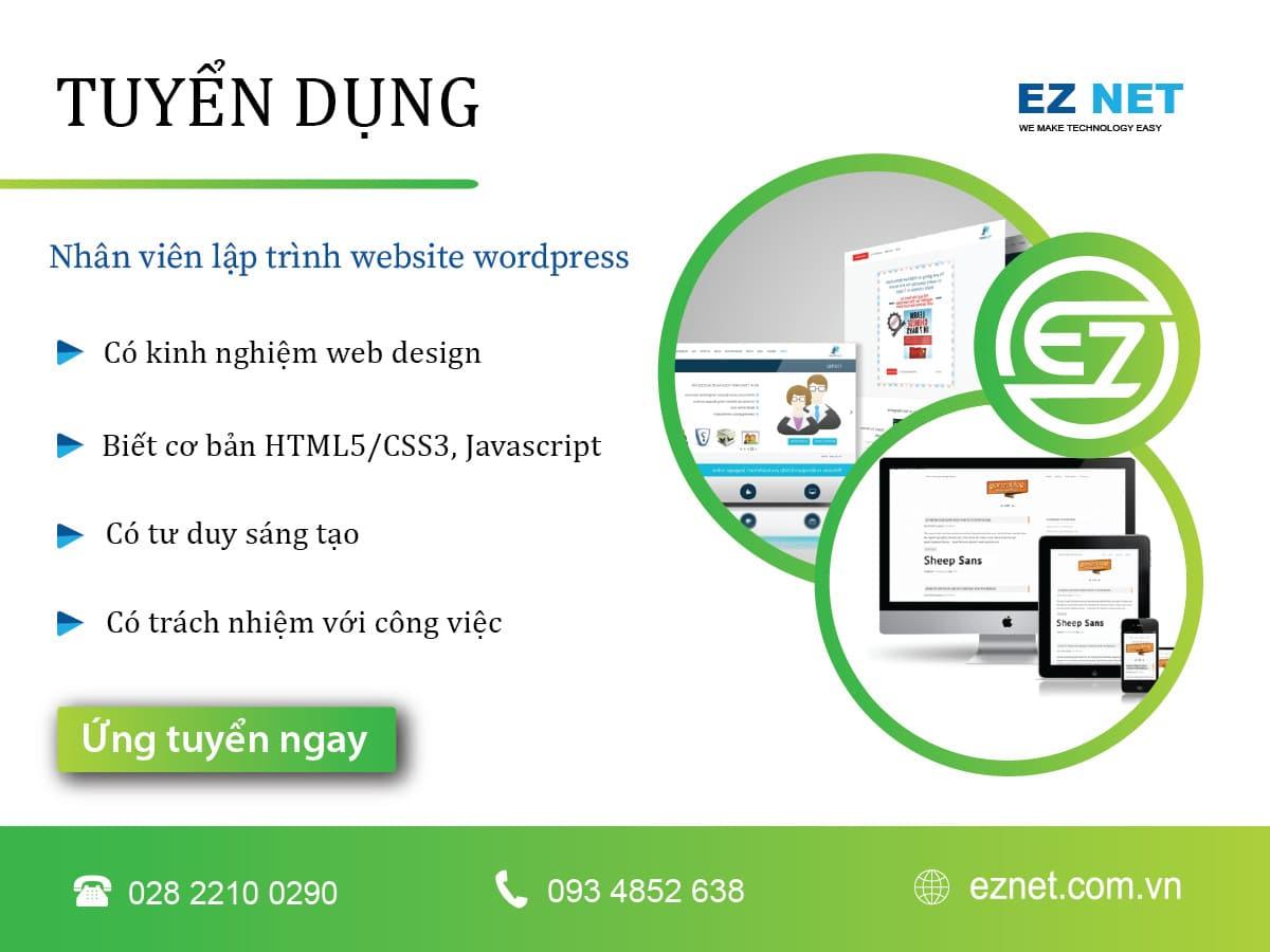 Tuyển dụng nhân viên thiết kế website Wordpress
